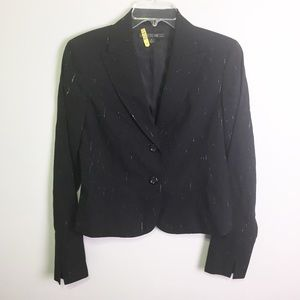 Lafayette 148 Black Printed Wool Blazer Sz 4